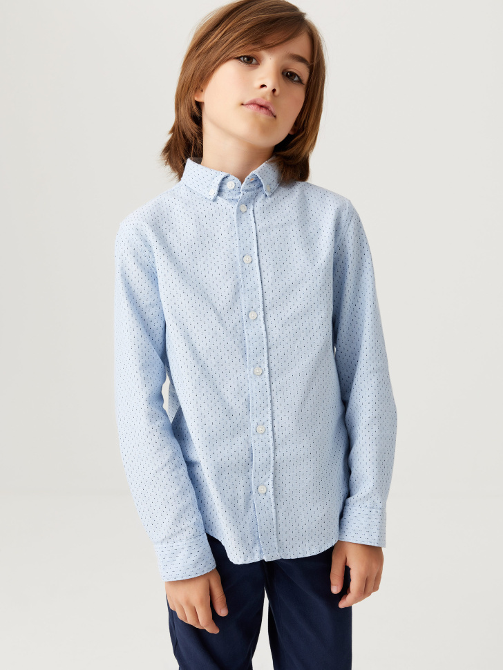 Школьная рубашка с принтом для мальчиков (голубой, 134/ 9-10 YEARS)