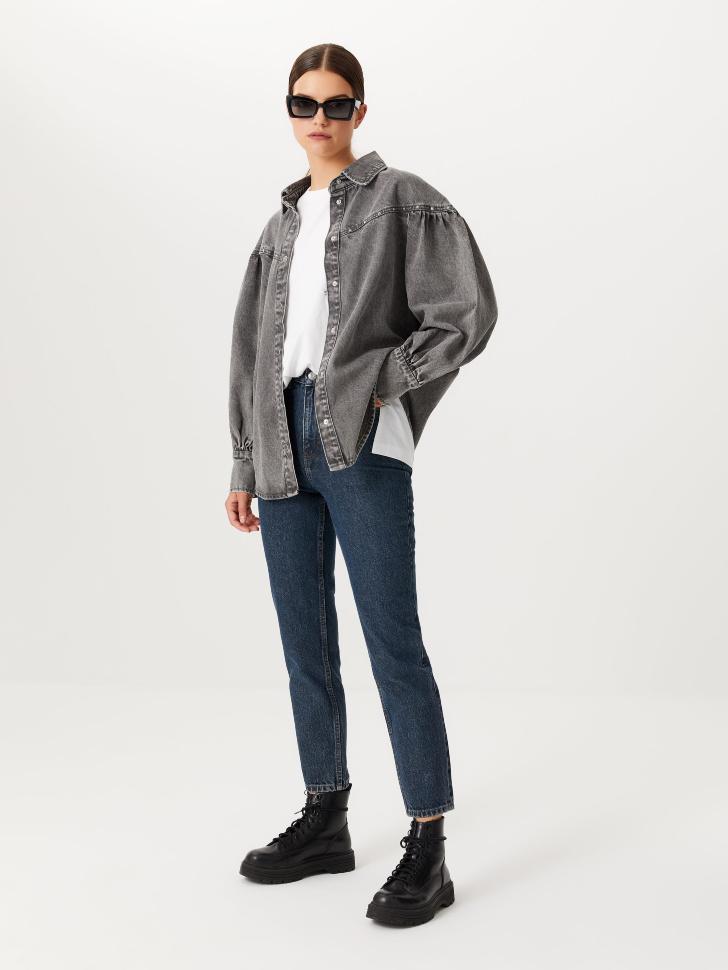 Базовые джинсы mom fit (синий, XXS)