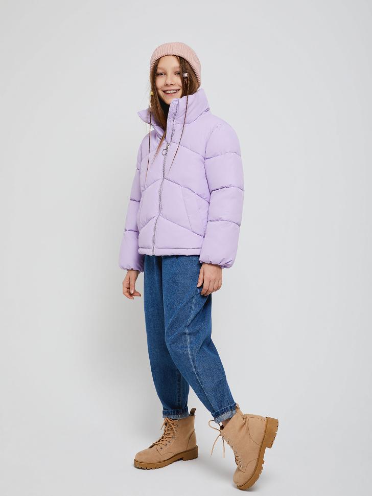 Короткая куртка с воротником для девочек (сиреневый, 128/ 8-9 YEARS)