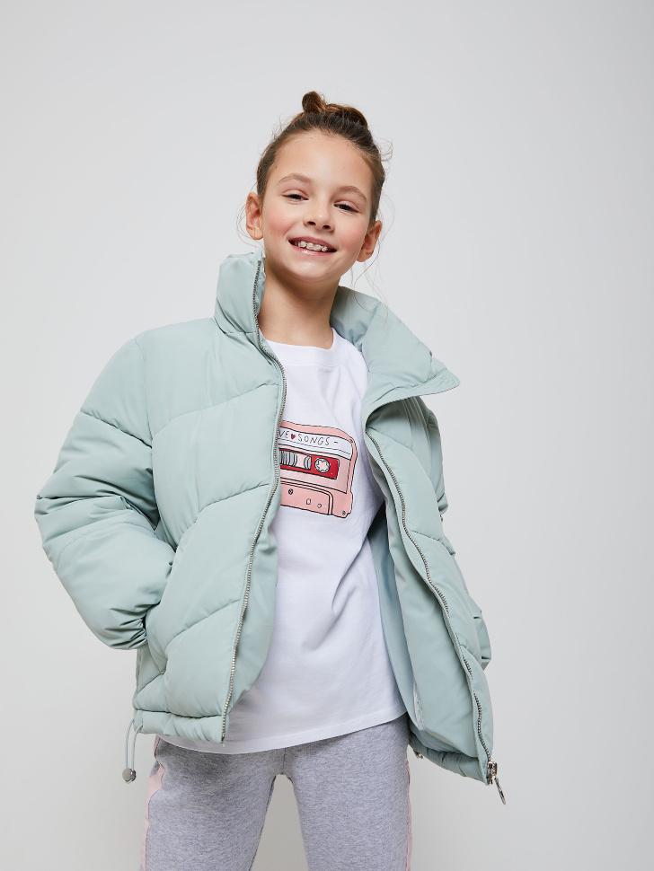 Короткая куртка с воротником для девочек (бирюзовый, 146/ 11-12 YEARS)