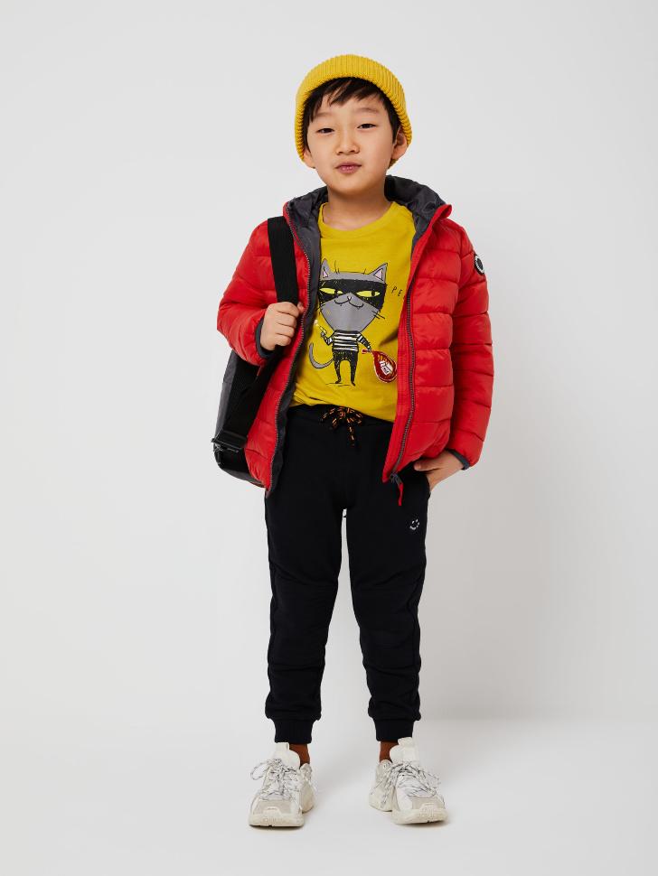 Стеганая куртка с капюшоном для мальчиков (коричневый, 116/ 6-7 YEARS)