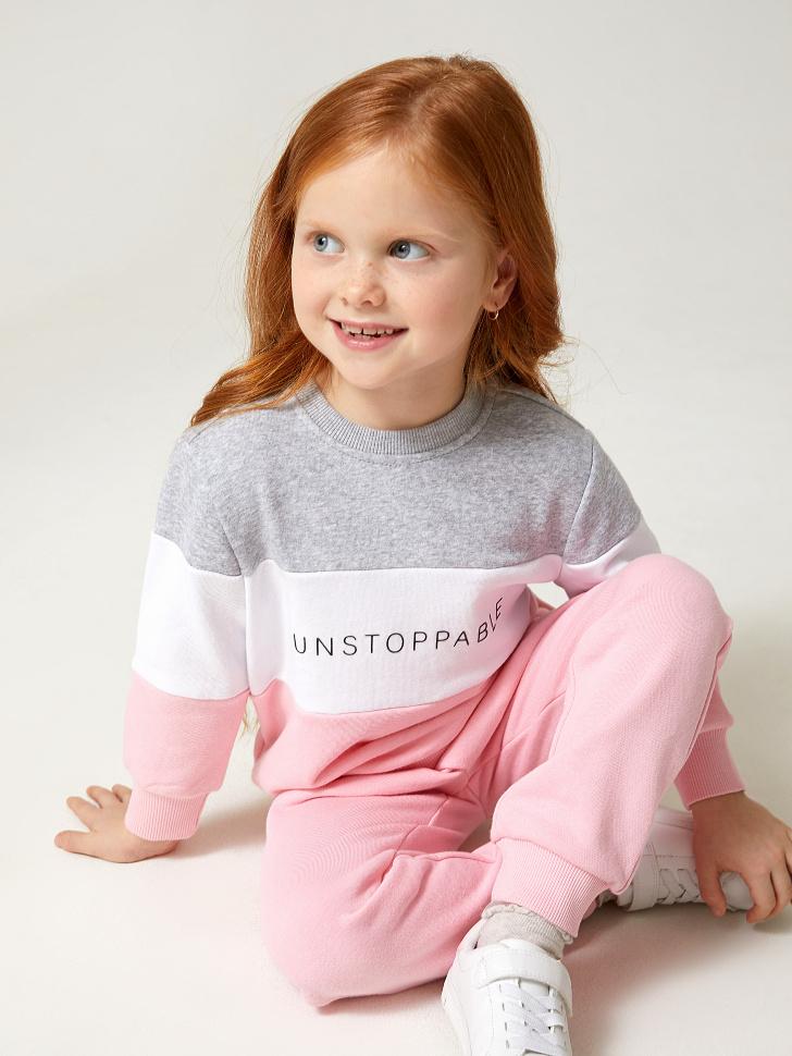 Купить со скидкой свитшот для девочек в стиле колор блок (розовый, 98)