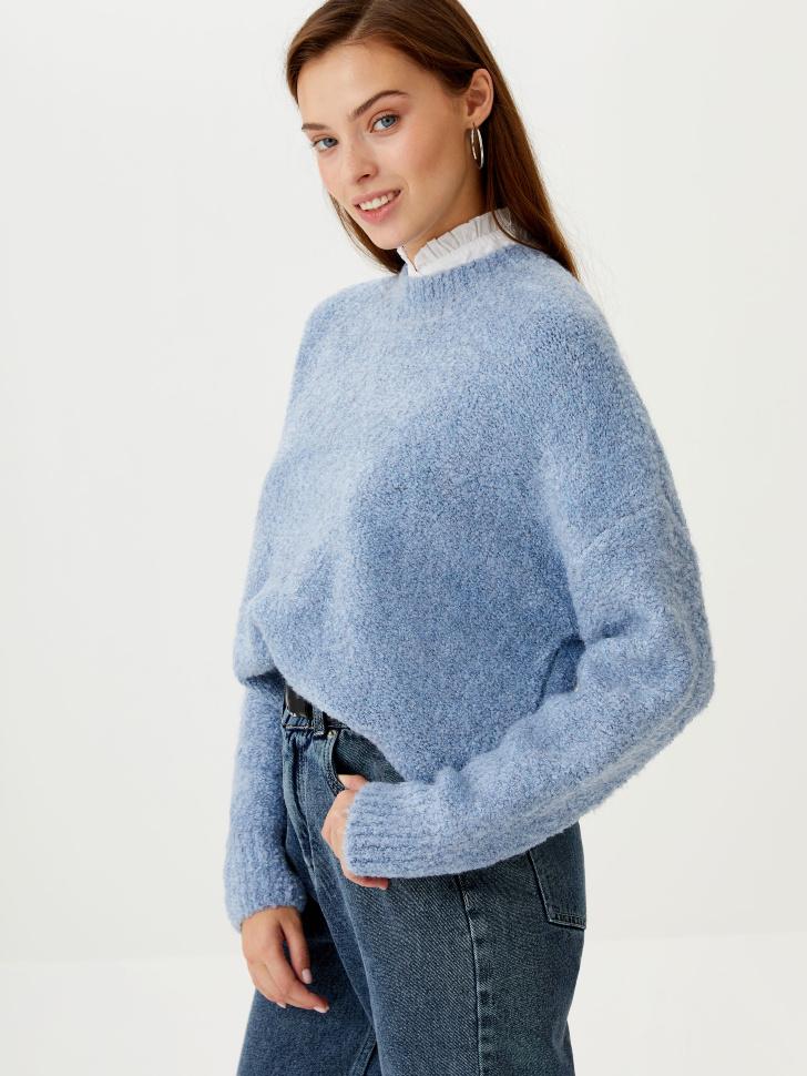 Джемпер фактурной вязки (голубой, S)