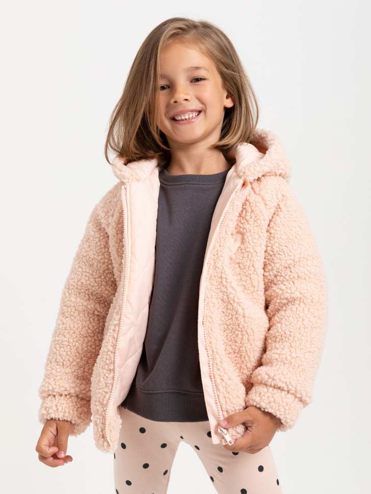 Куртка из искусственного меха для девочек (розовый, 98/ 3-4 YEARS)
