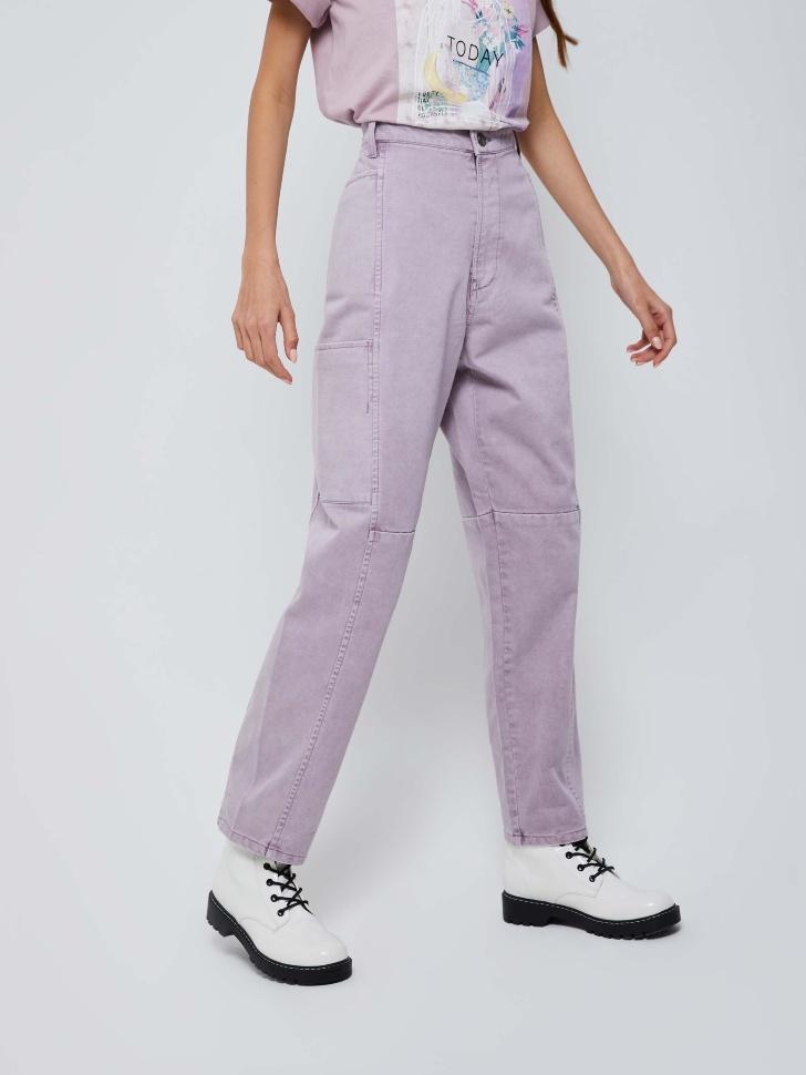 Джинсы с накладными карманами (фиолетовый, S)