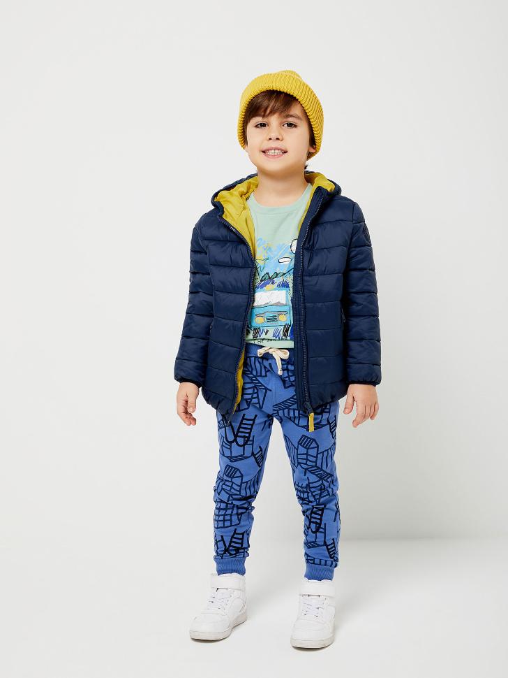 Стеганая куртка с капюшоном для мальчиков (синий, 116/ 6-7 YEARS)