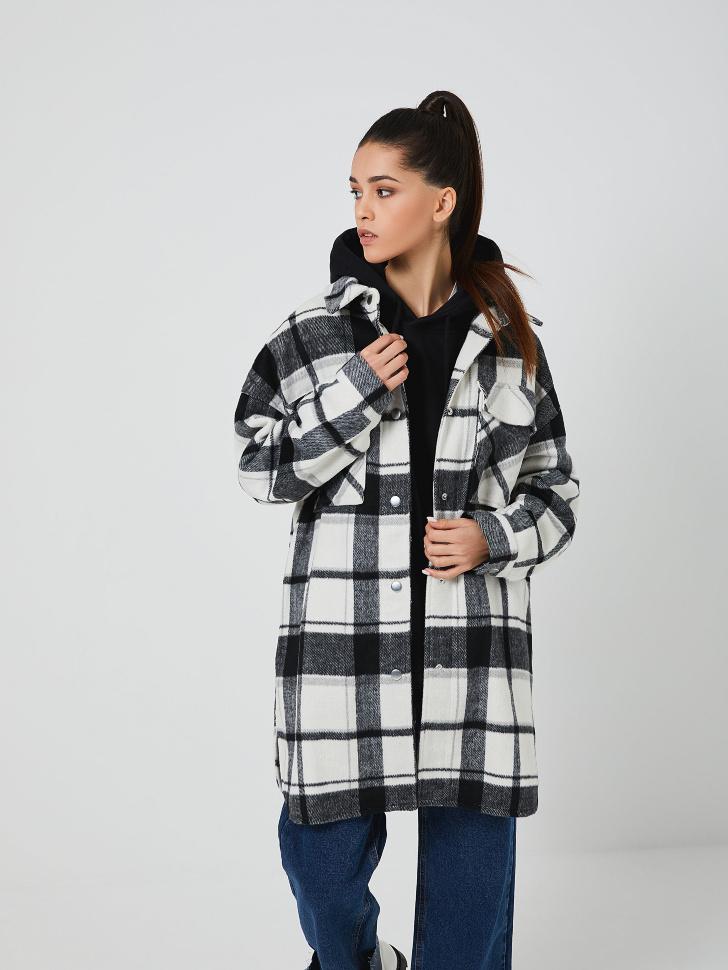 Пальто-рубашка в клетку (черный, S)