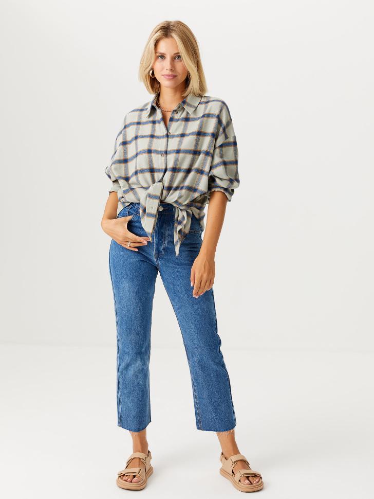Прямые джинсы mom fit (голубой, XL)