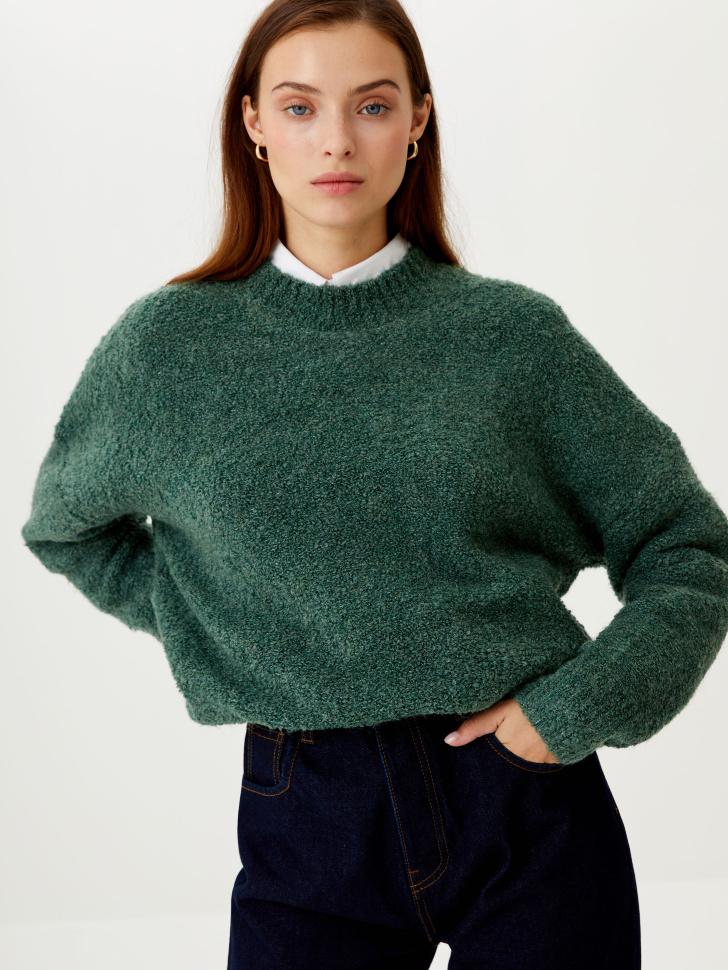 Джемпер фактурной вязки (зеленый, S)