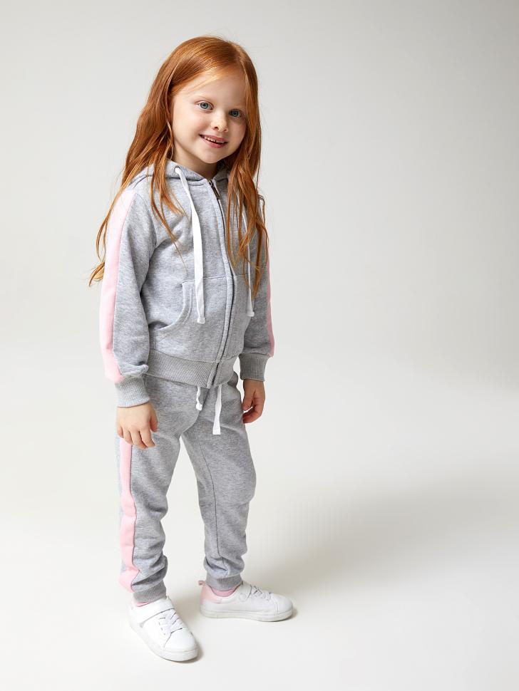 Купить со скидкой брюки для девочек с яркими лампасами (серый, 110)