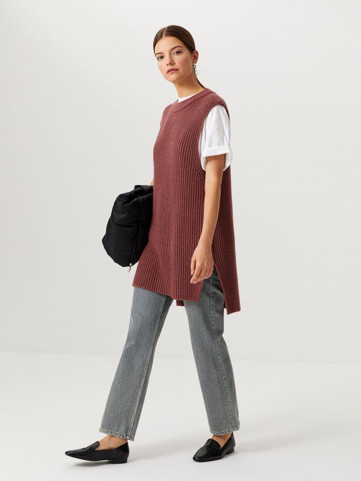 Прямые джинсы с потертостями (голубой, M)