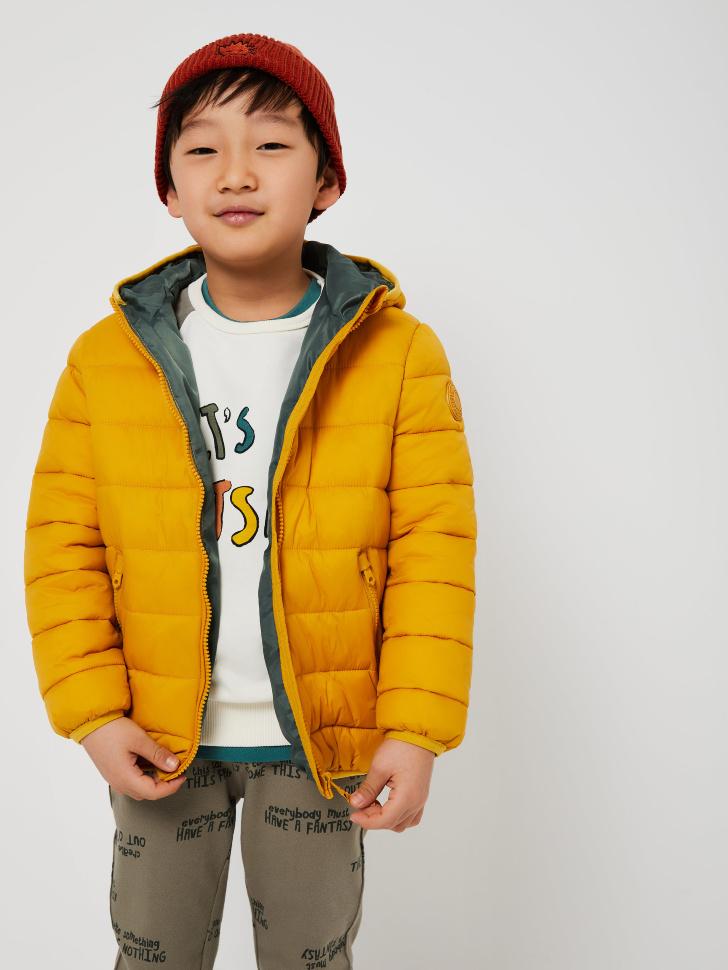 Стеганая куртка с капюшоном для мальчиков (желтый, 116/ 6-7 YEARS)