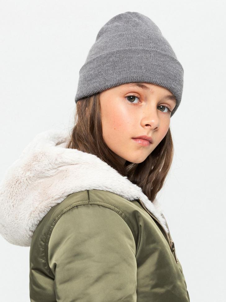 шапка для девочек (серый, 50/52)