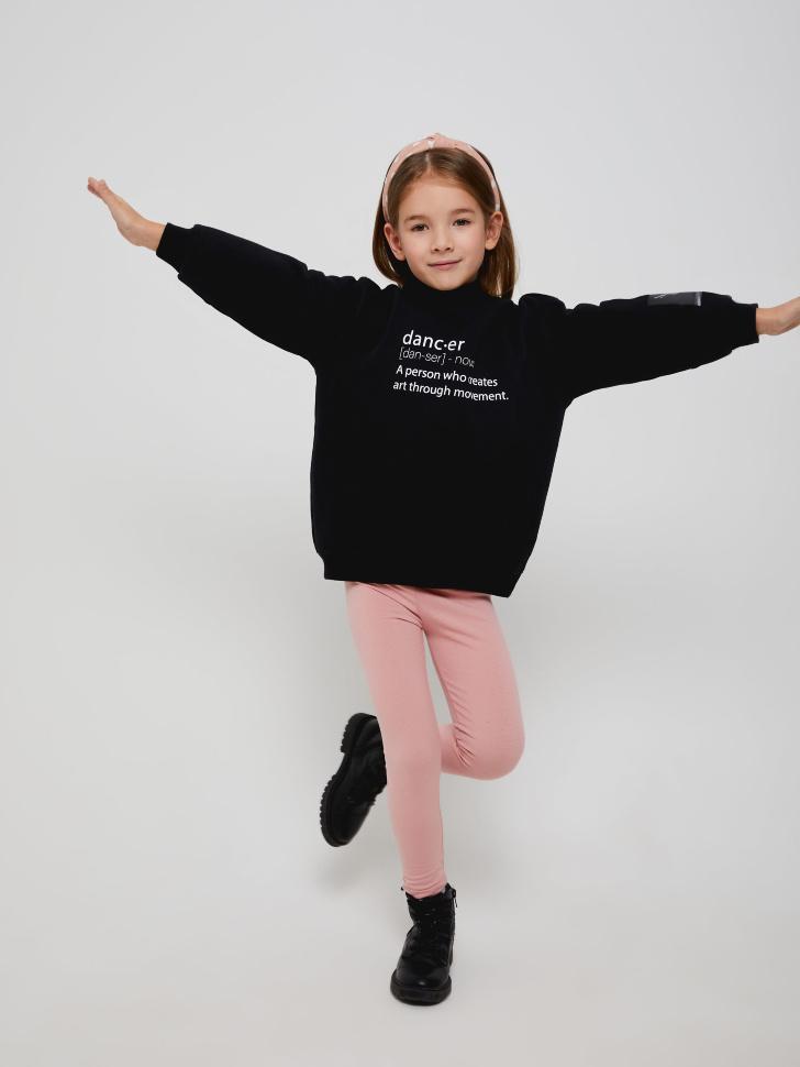 Худи оверсайз для девочек (черный, 116/ 6-7 YEARS)