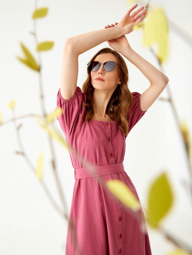 Хлопковое платье с пышными рукавами (розовый, L)
