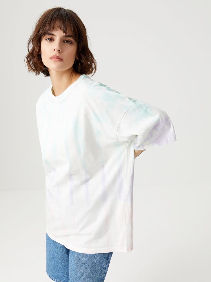 Оверсайз футболка тай-дай (белый, S)