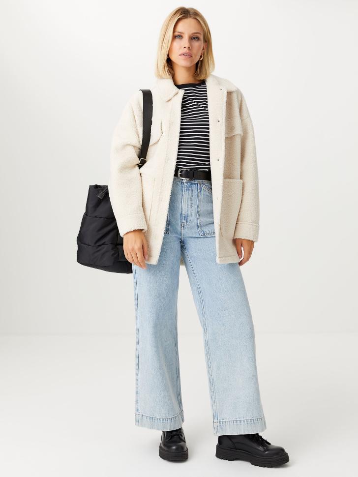 Широкие джинсы с накладными карманами (синий, M)