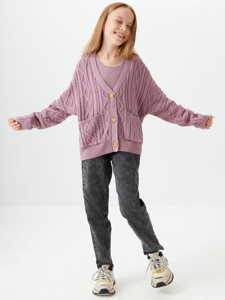 Вязаный кардиган для девочек (фиолетовый, 134/ 9-10 YEARS)
