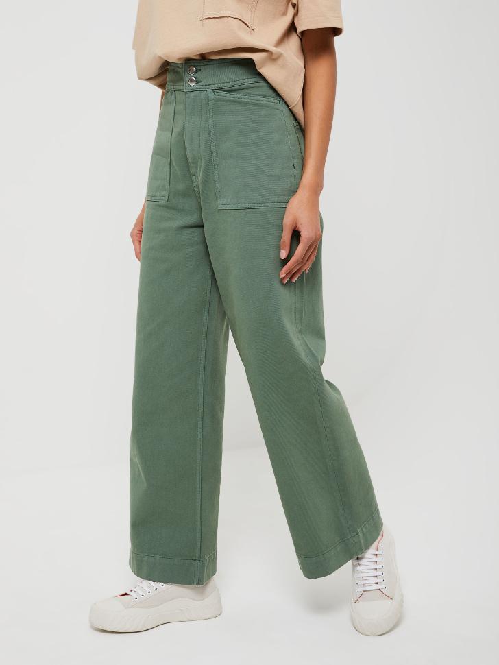 Широкие джинсы с накладными карманами (зеленый, XL)