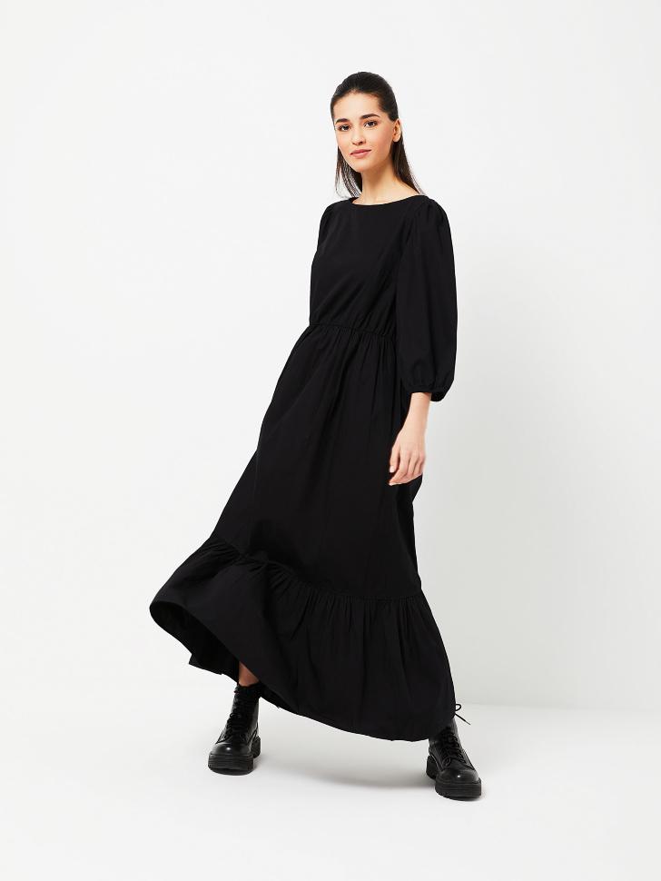 SELA Длинное ярусное платье (черный, S)