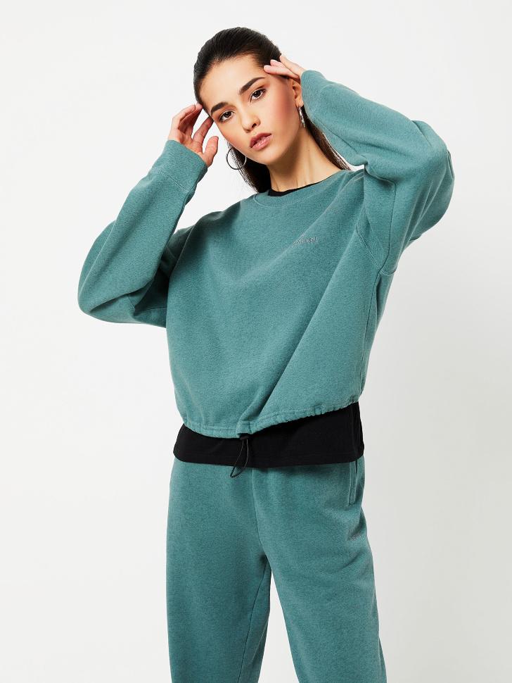 Укороченный свитшот с вышивкой (зеленый, L)
