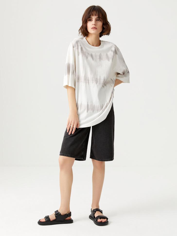 Оверсайз футболка тай-дай (серый, L)