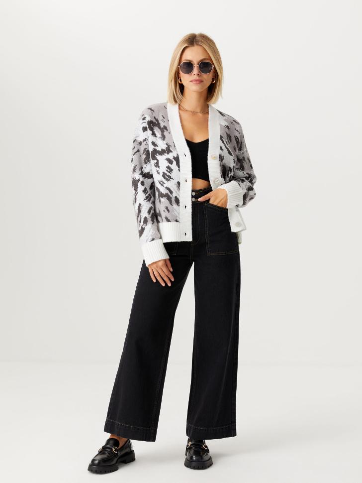 Широкие джинсы с накладными карманами (черный, XL)