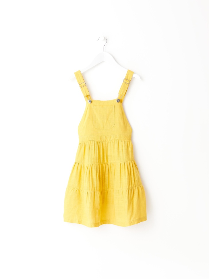 Сарафан с ярусной юбкой для девочек (желтый, 92/ 2-3 YEARS)
