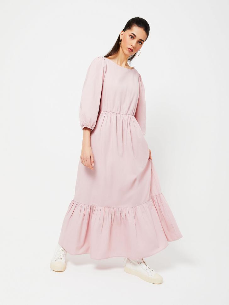 SELA Длинное ярусное платье (розовый, L)