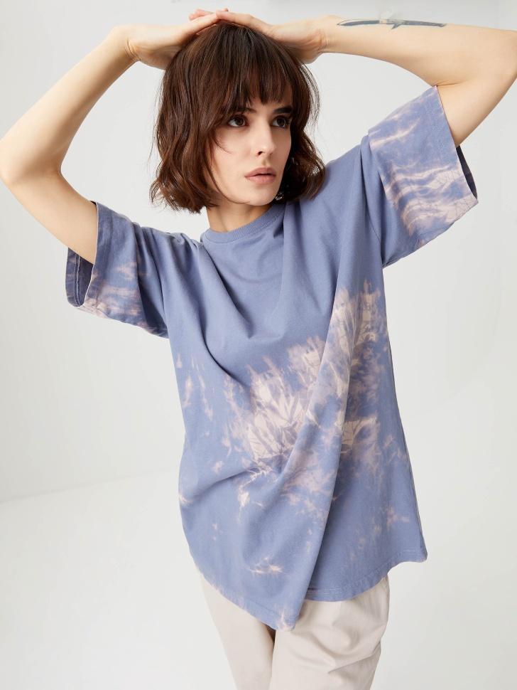 Оверсайз футболка тай-дай (синий, L)