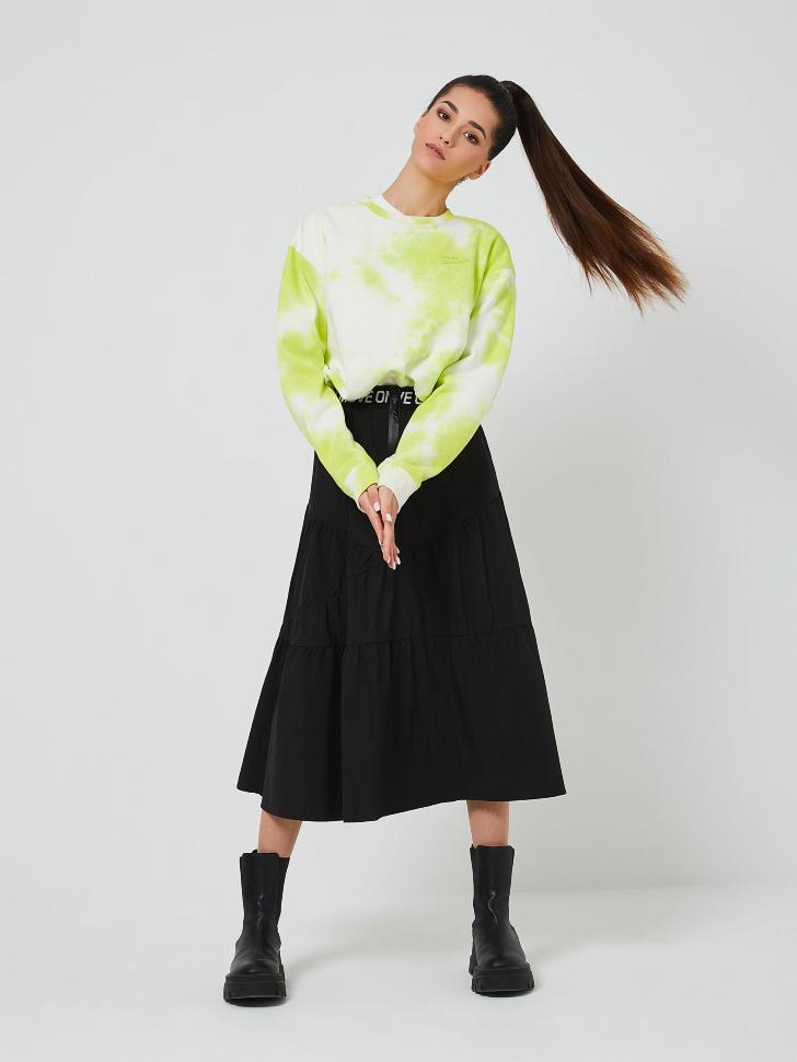 Нейлоновая юбка миди (черный, M)