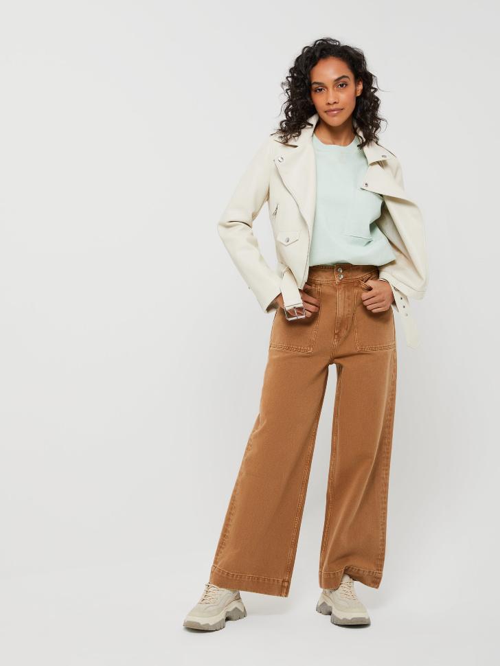 Широкие джинсы с накладными карманами (бежевый, S)