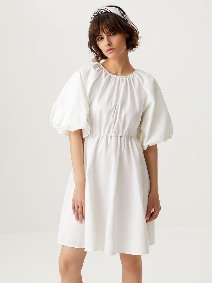 Платье с пышными рукавами (белый, L)