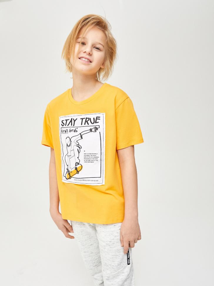 Купить со скидкой футболка для мальчиков с принтом и вышивкой (желтый, 140)