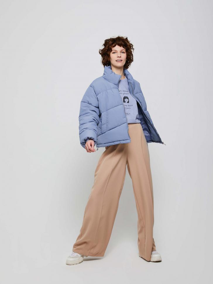 Широкие брюки с эластичным поясом (бежевый, L)