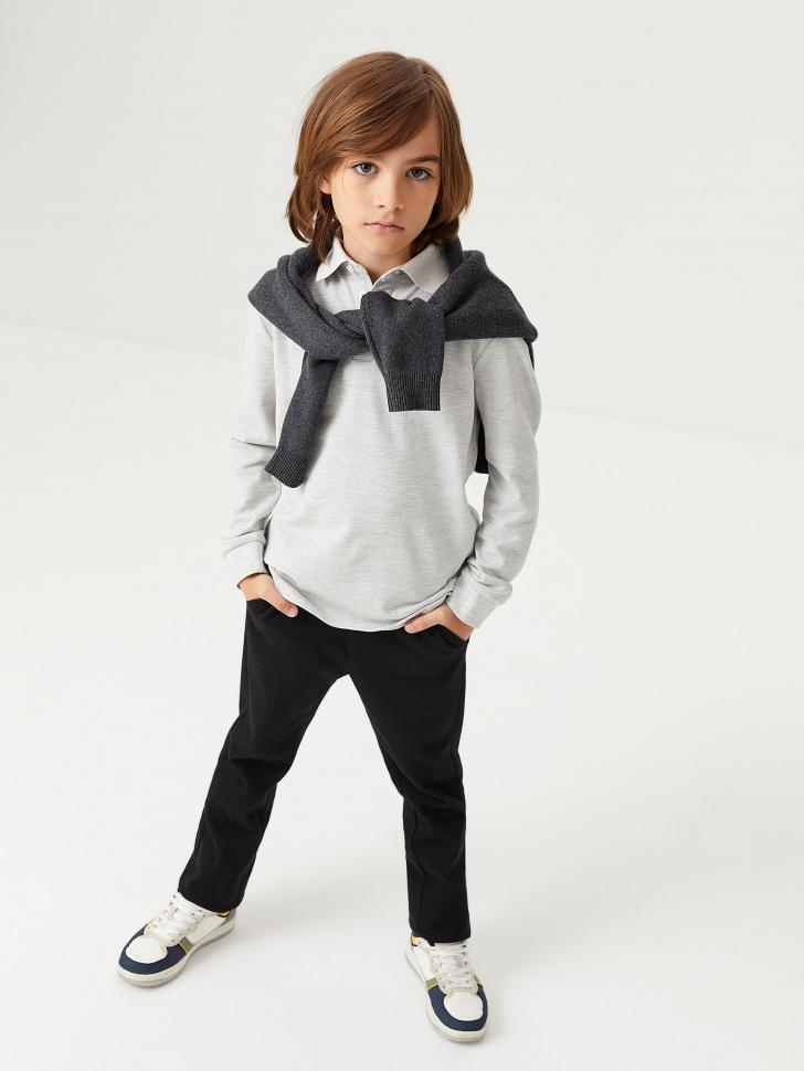 Трикотажное поло с длинным рукавом для мальчиков (серый, 164/ 14-15 YEARS)