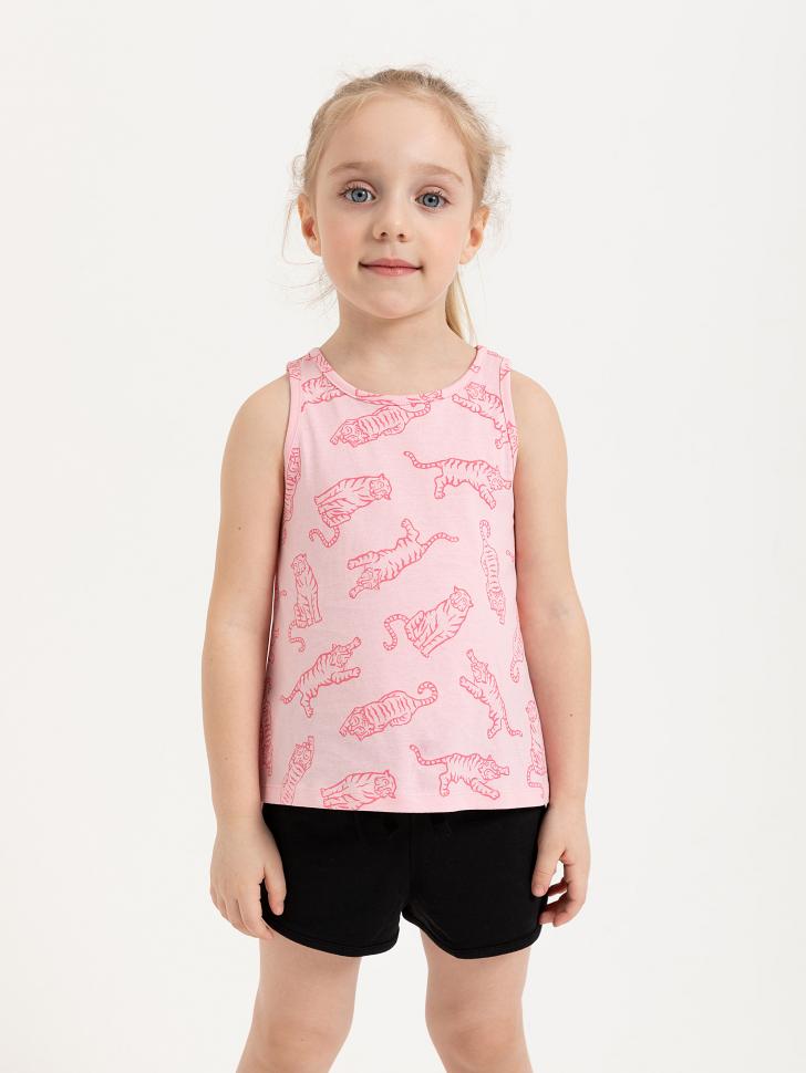 SELA Майка с принтом для девочек (розовый, 104/ 4-5 YEARS)