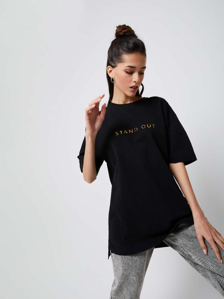 Удлиненная футболка оверсайз (черный, L)