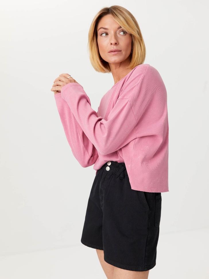Трикотажный лонгслив с вышивкой (розовый, M)