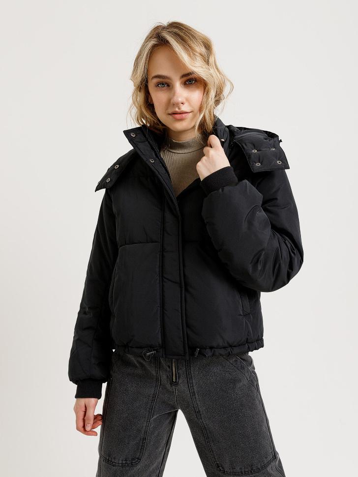 короткая куртка с капюшоном (черный, S)