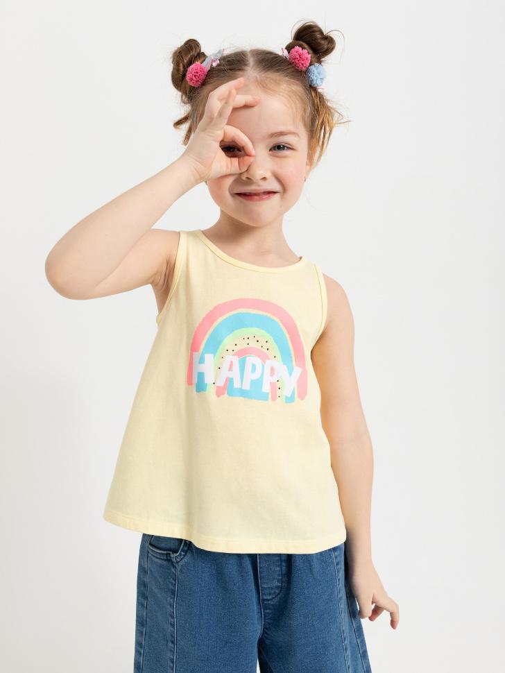 SELA Майка с принтом для девочек (желтый, 104/ 4-5 YEARS)