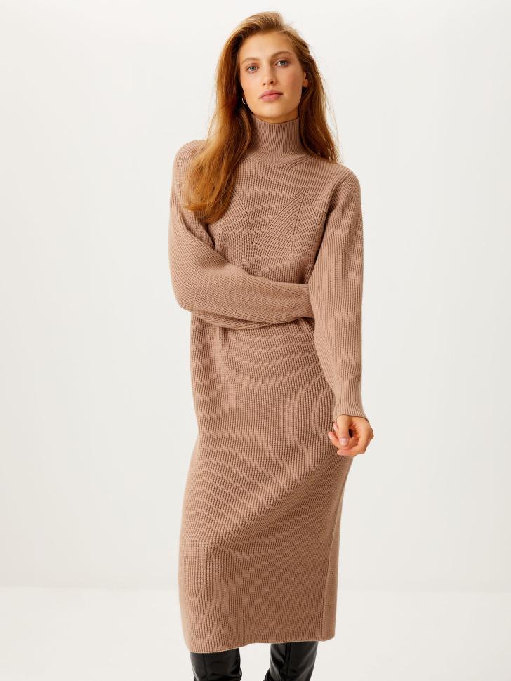 Вязаное платье макси (бежевый, XS)