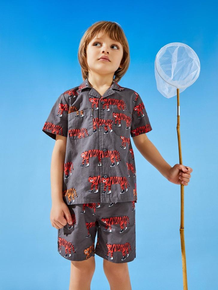 Гавайская рубашка с принтом для мальчиков (серый, 104/ 4-5 YEARS)