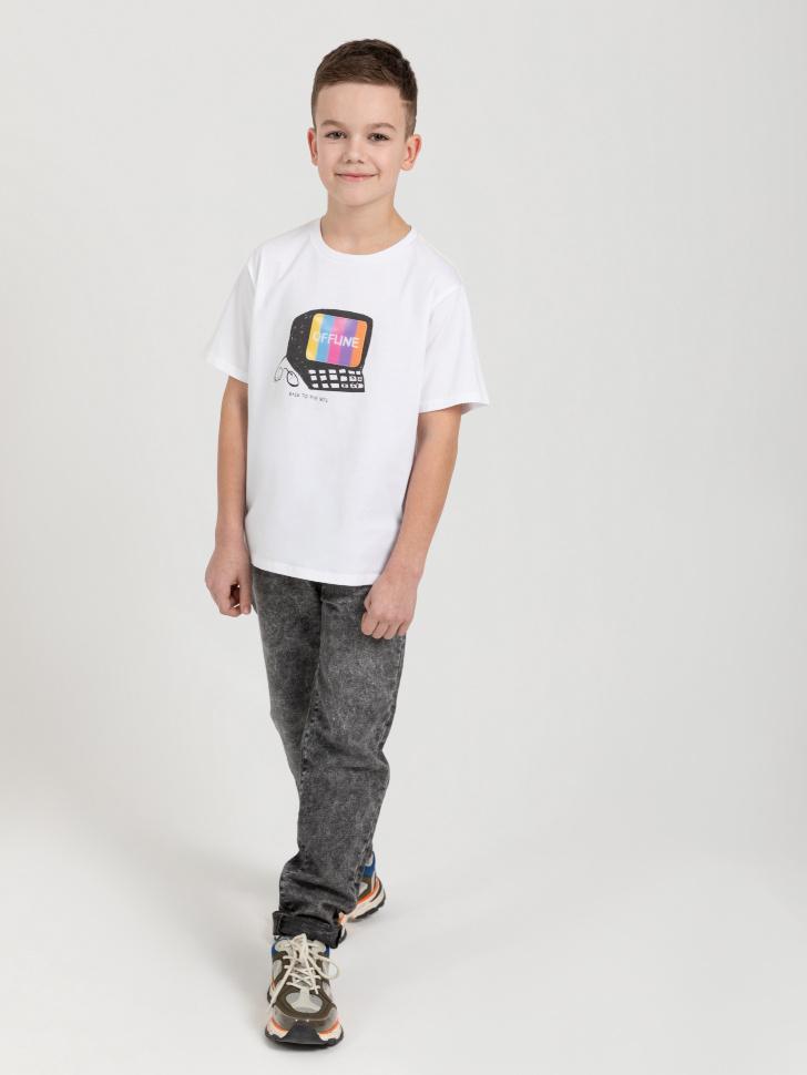 SELA Футболка с интерактивным принтом для мальчиков (белый, 140/ 10-11 YEARS)