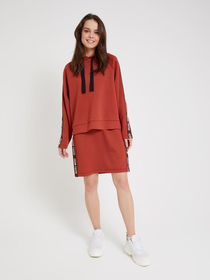 юбка с лампасами (коричневый, XS)
