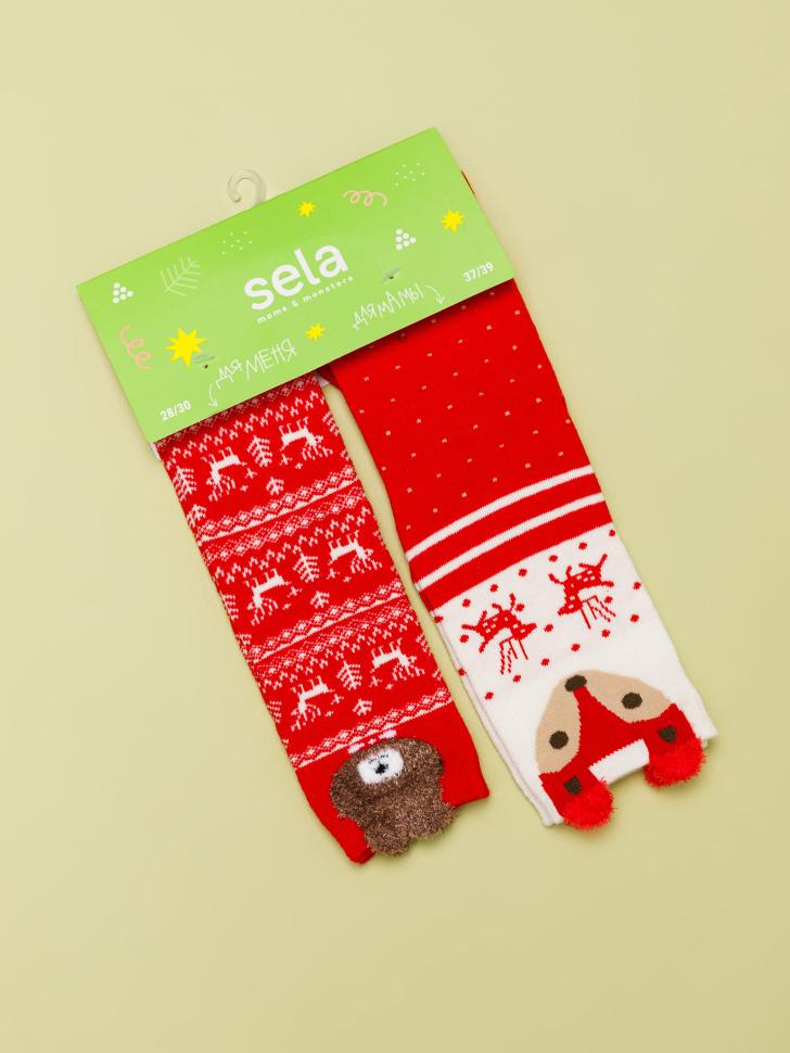 Набор носков для детей и взрослых (красный, 23-25, 22-23)