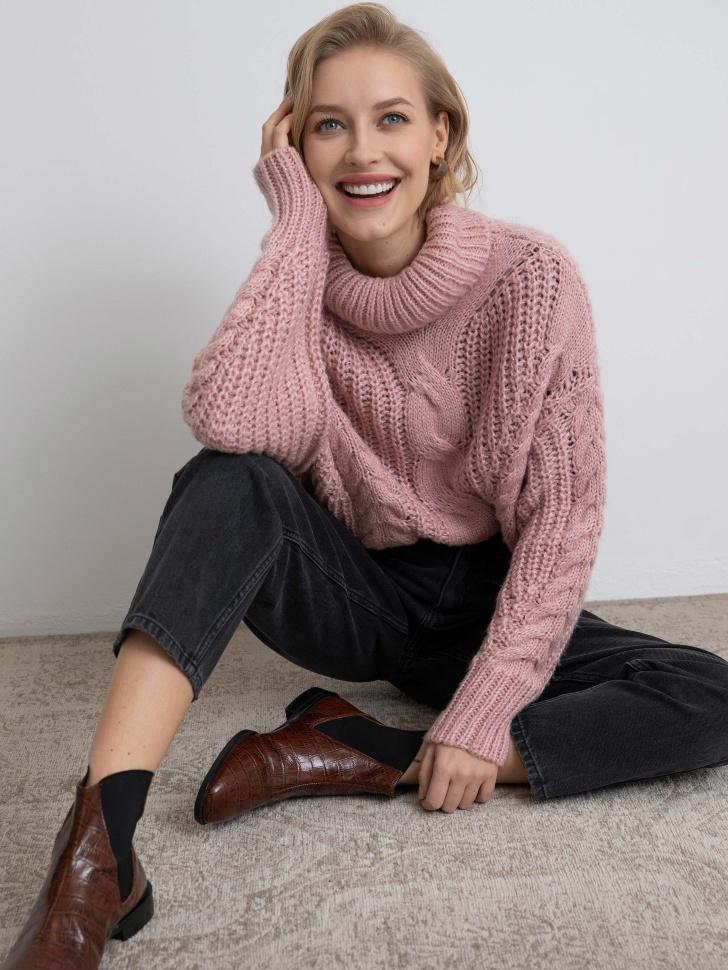 свитер женский (розовый, XS)