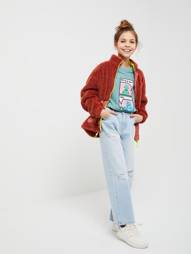 куртка для девочек (коричневый, 152/ 12-13 YEARS)