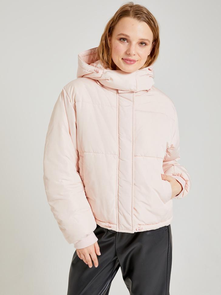 короткая куртка с капюшоном (розовый, S)