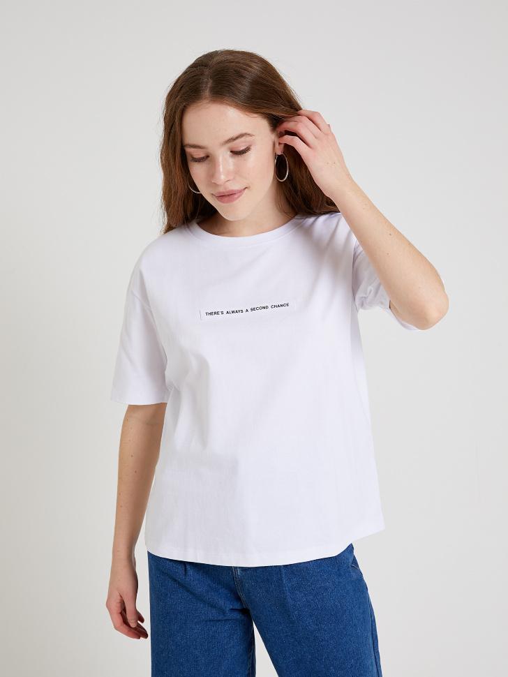 SELA футболка с принтом (белый, M)
